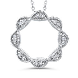 10K White Gold 1/10 Ct Diamond Fashion Pendant with Chain