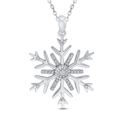 Sterling Silver .12 Ct Diamond Snow Flake Pendant with Chain