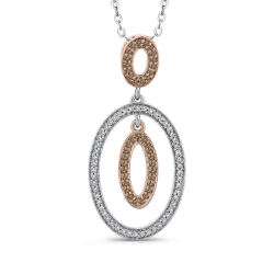 10K White & Pink Gold 1/4 Ct Brown and White Diamond Fashion Pendant with Chain