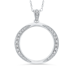1/4 ct Round White Diamond 10K White Gold Fashion Pendant with Chain