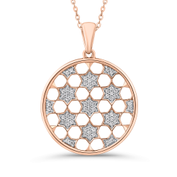 10K Rose Gold 1/4 Ct Diamond Circle Pendant with Chain