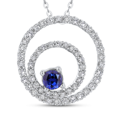 10K White Gold 5/8 Ct Diamond with 3/8 Ct Sapphire Circle Pendant with Chain