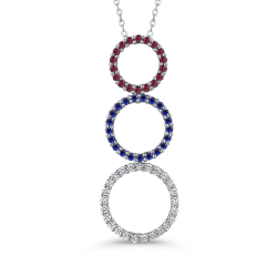 10K White Gold .14 Ct Diamond with 1/2 Ct Ruby & Sapphire Three Circle Pendant with Chain