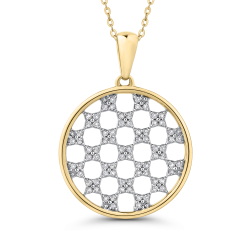 10K Yellow Gold 1/4 Ct Diamond Circle Pendant with Chain