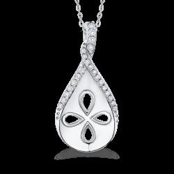 10K White Gold .13 Ct Diamond Fashion Pendant with Chain
