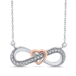 10K White & Rose Gold 1/5 Ct Diamond Infinity Pendant with Chain