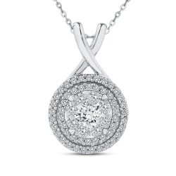 10K White Gold Round Diamond Double Halo Pendant with Chain