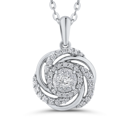 1/2 ct White Diamond 10K White Gold Swirl Fashion Pendant with Chain