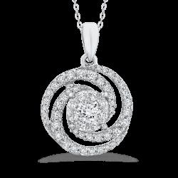 10K White Gold 3/4 Ct Diamond Fashion Pendant with Chain