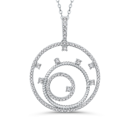 10K White Gold 3/8 Ct Diamond Circle Pendant with Chain