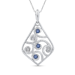 10K White Gold 1/4 Ct Blue and White Diamond Fashion Pendant with Chain