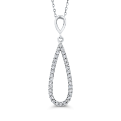10K White Gold 1/4 Ct Diamond Fashion Pendant with Chain