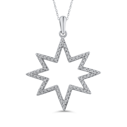 1/4 ct Round Diamond 10K White Gold Star Fashion Pendant with Chain