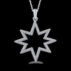 1/4 ct Round Diamond 10K White Gold Star Fashion Pendant with Chain