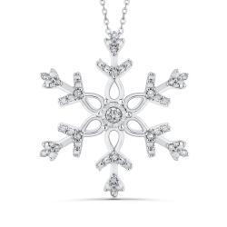 Sterling Silver .12 Ct Diamond Snowflake Pendant with Chain
