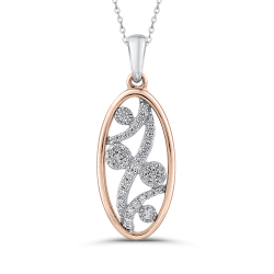 1/5 ct Round White Diamond 10K Two Tone Gold Fashion Pendant with Chain