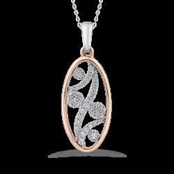 1/5 ct Round White Diamond 10K Two Tone Gold Fashion Pendant with Chain