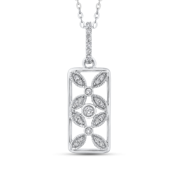 10K White Gold 1/5 ct Diamond Flower Design Fashion Pendant with Chain