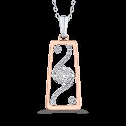 10K Two Tone Gold 1/5 ct Round White Diamond Fashion Pendant with Chain