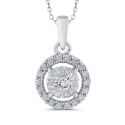 10K White Gold 3/4 ct Diamond Double Halo Pendant with Chain