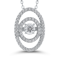 10K White Gold 1/4 ct White Diamond Fashion Pendant with Chain
