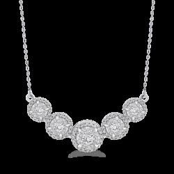 10K White Gold 1.31 ct Round Diamond Fashion Pendant with Chain