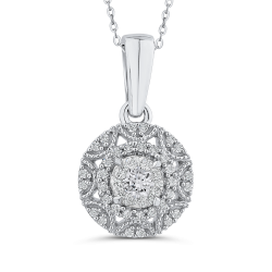 10K White Gold 1/3 ct White Diamond Fashion Pendant with Chain