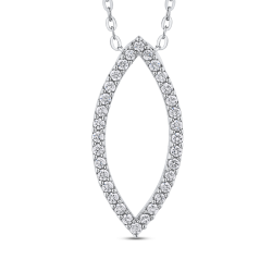 10K White Gold 2/3 ct Round White Diamond Fashion Pendant with Chain