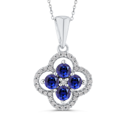 10K White Gold Round 1/5 ct Diamond & 1 1/5 ct Blue Sapphire Fashion Pendant with Chain