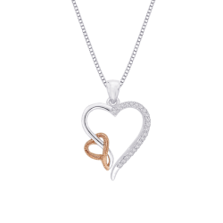 10K Two Tone Gold .09 ct Diamond Double Heart Pendant with Chain