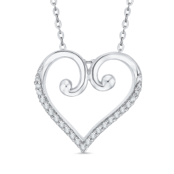 10K White Gold .13 ct. Diamond Heart Pendant