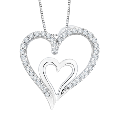 10K White Gold 1/5 ct. Diamond Fashion Pendant