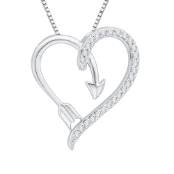 10K White Gold .12 ct. Diamond Heart Pendant
