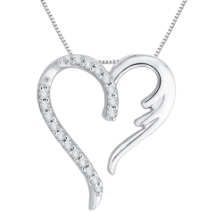 10K White Gold .08 ct. Diamond Heart Pendant