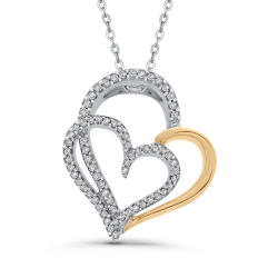 10K Two-Tone Gold Round 1/4 ct Diamond Double Heart Pendant with Chain