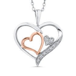 10K White & Rose Gold .03 Ct Diamond Heart Pendant with Chain