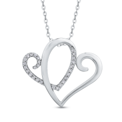 10K White Gold Diamond Anniversary Symbol™ Heart Pendant with Chain