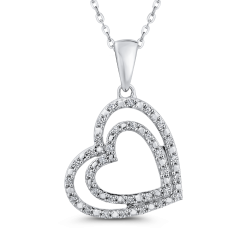 1/4 ct White Diamond 10K White Gold Double Heart Pendant
