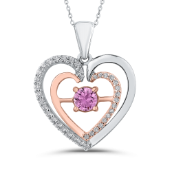 10K Two Tone Gold 1/5 ct Diamond & 5/8 ct Pink Sapphire Double Heart Pendant with Chain