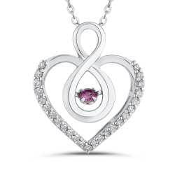 10K White Gold .14 ct Diamond & .14 ct Pink Sapphire Infinity Heart Pendant with Chain