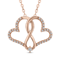 0.14 ct Round Diamond Interlocked Double Heart Pendant with Chain In 10K Rose Gold