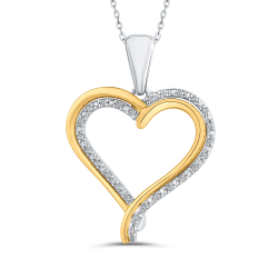 10K Two Tone Gold 1/10 ct White Diamond Heart Pendant with Chain