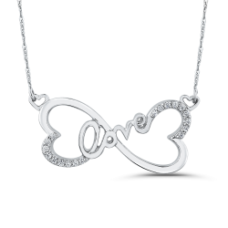 10K White Gold 1/10 ct Round Diamond Heart Infinity LOVE Pendant with Chain