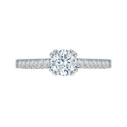 14K White Gold .29 ct. Diamond Promezza Engagement Ring with Round Center