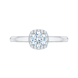 14K White Gold .59 ct. Diamond Promezza Engagement Set with Round Center