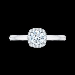 14K White Gold .09 ct. Diamond Promezza Engagement Ring with Round Center