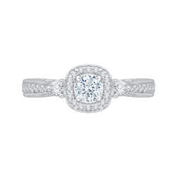 14K White Gold .35 ct. Diamond Promezza Engagement Ring with Round Center