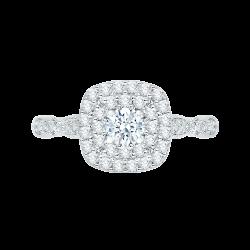 14K White Gold .86 ct. Diamond Promezza Engagement Set with Round Center