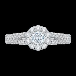 14K White Gold .57 ct. Diamond Promezza Engagement Ring with Round Center