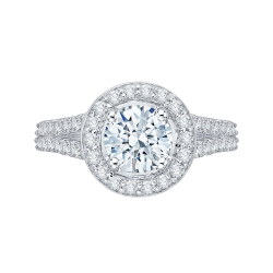 14K White Gold .58 ct. Diamond Promezza Engagement Ring with Round Center